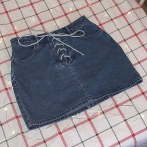 PacSun Mini Jean Skirt With Lace Up Ties Size 27